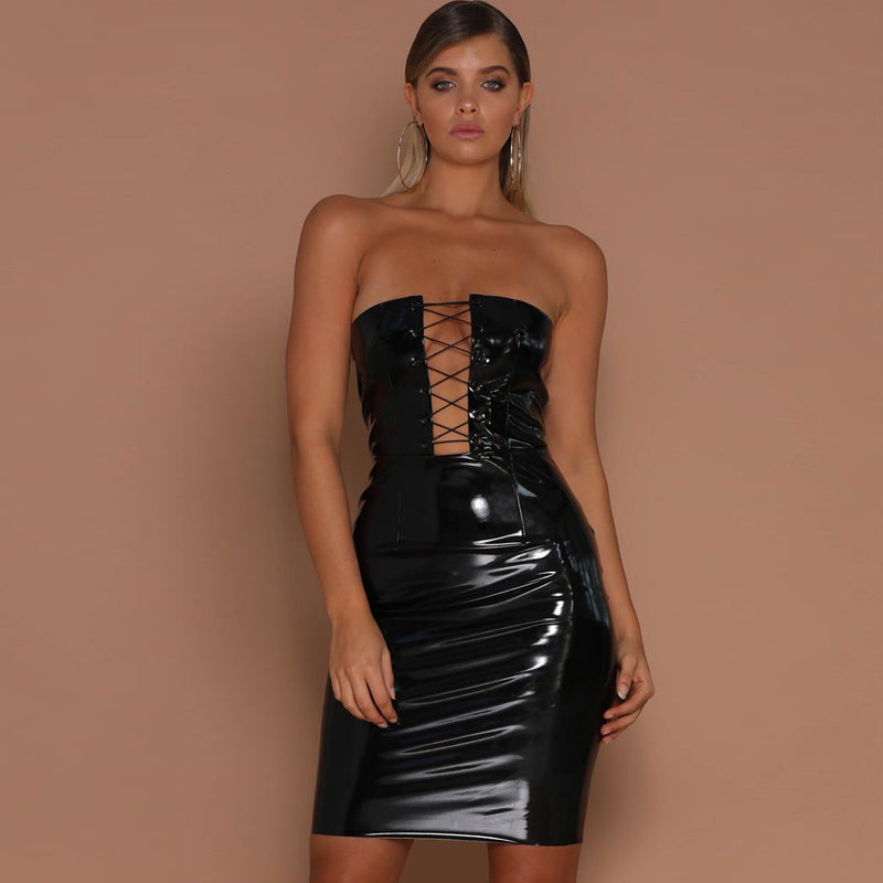 U Strapless Hollow Out Mini Dress