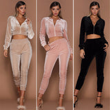 Long Sleeve Casual Tracksuit Top And Pants Set