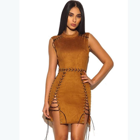 Suede Hollow Out Sleeveless Bandage Dress