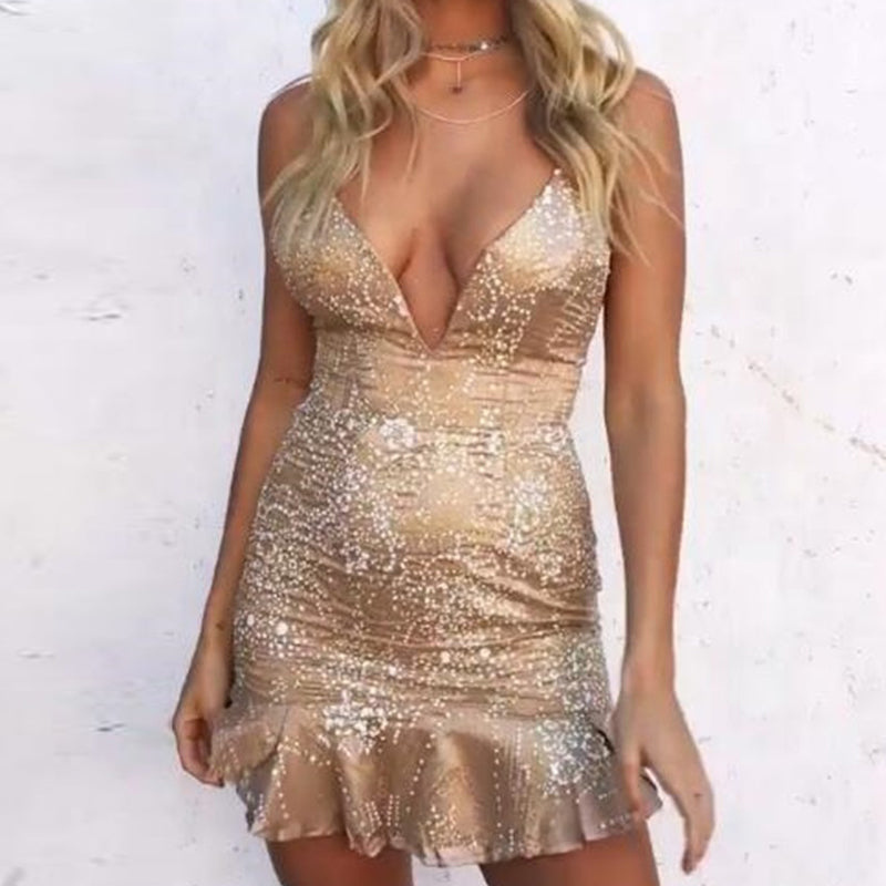 Sequin Sleeveless Backless Bandage Dress