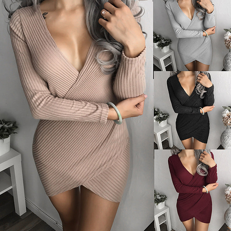 V-Neck Long Sleeve Casual Dress