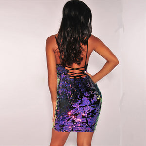 Sleeveless Sequin Backless Bodycon Dress