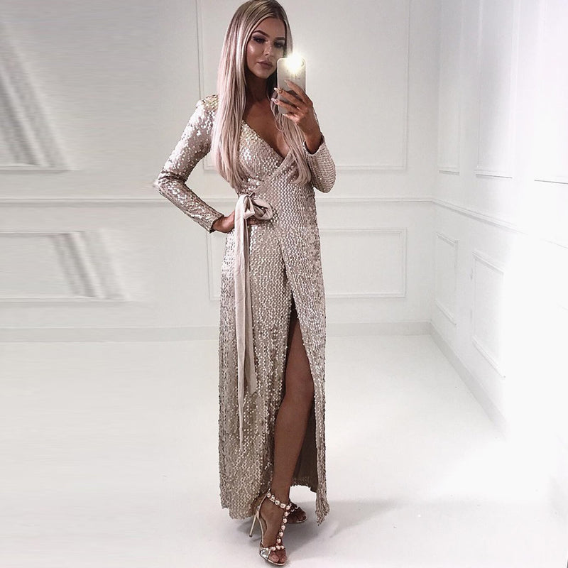 Sequin Long Sleeve Bodycon V Neck Dress