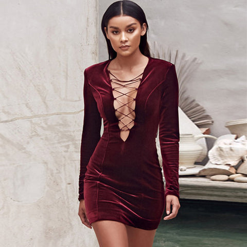 Velvet Long Sleeve Hollow Out Dress