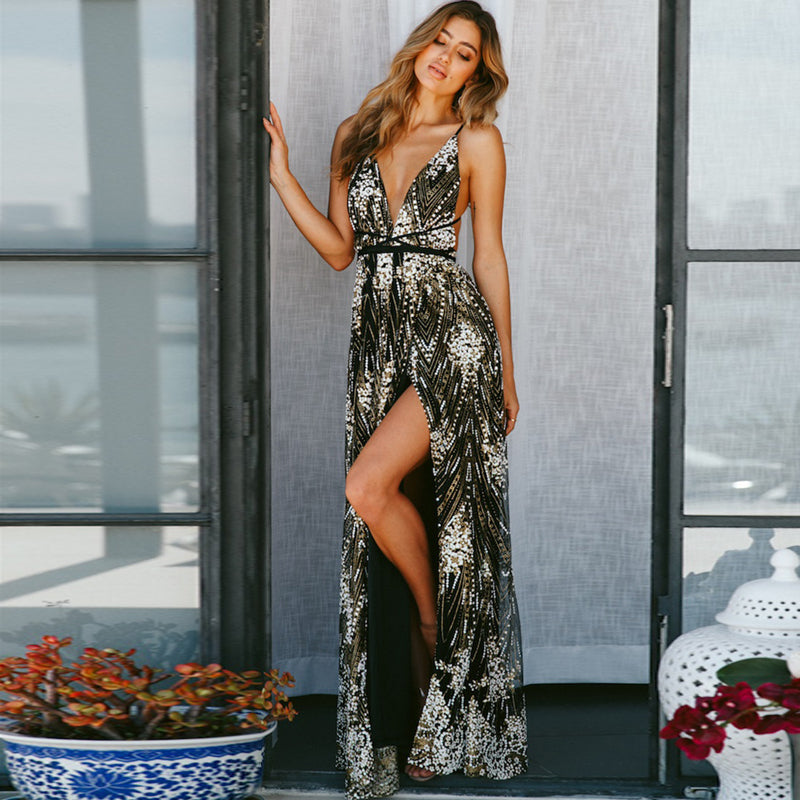 Sequin Backless V-neck Embroidery Long Dress
