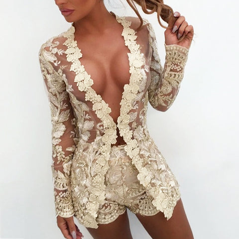 Embroidered Lace Hollow Out Set