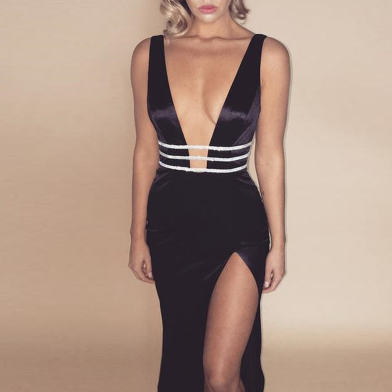 Side Slit Deep V Neck Backless Long Dress