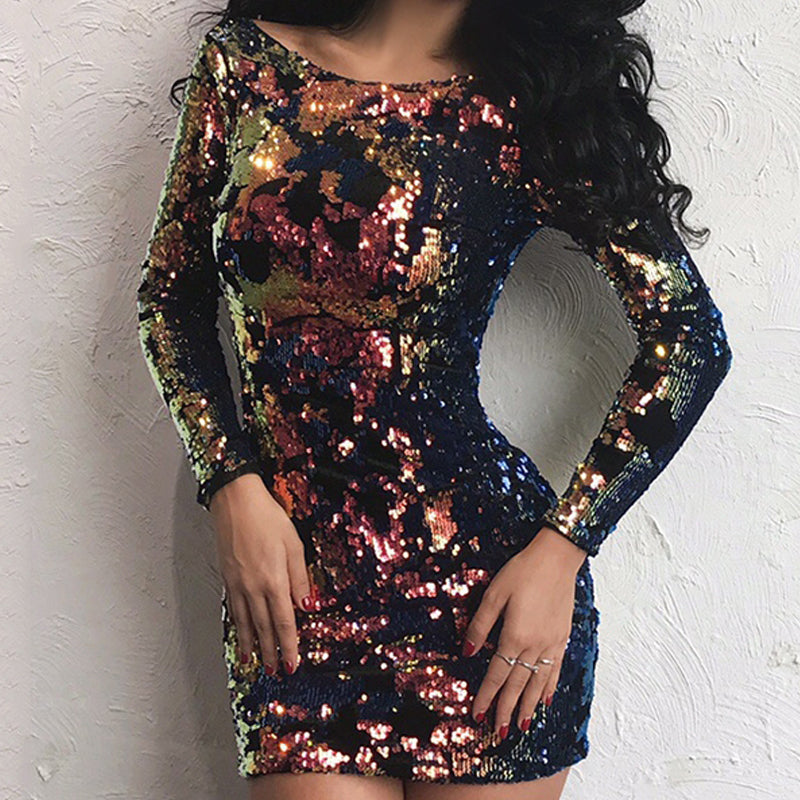 O Neck Long Sleeve Multi Color Sequin Backless Dress