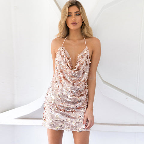 Sequin Backless Deep V Neck Club Dress