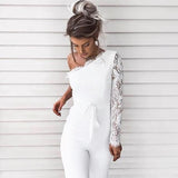 Lace Strapless Ladies Elegant Long Sleeve Jumpsuit
