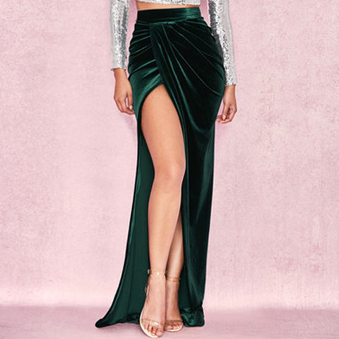 Side Slit Velvet Wrap Bodycon Ankle Length Skirt