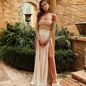 Off Shoulder Patchwork Lace Sequin Side Slit Long Dress