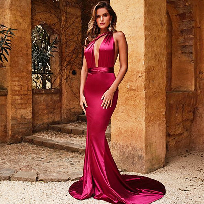Backless Neck Satin Formal Long Dress