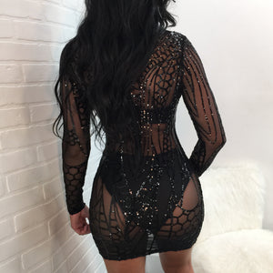 Sequin Mesh Patchwork Bodycon Dress