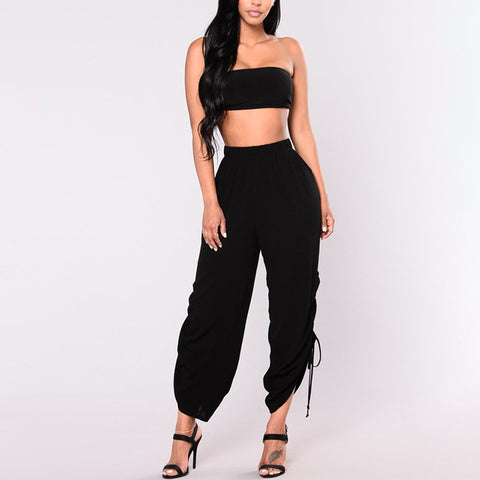 Bandage High Waist  Casual Flare Pants