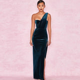 Velvet High Split One Shoulder Long Dress