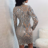 Sequin Elegant Long Sleeve Dress
