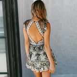 V Neck Sequin Backless Short Jumpsuit Romper