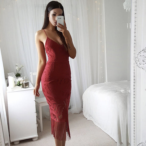 Deep V-Neck Sleeveless Tassel Party Dress