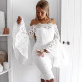 Floral Slash Neck Lace Scalloped Off Shoulder Midi Dress