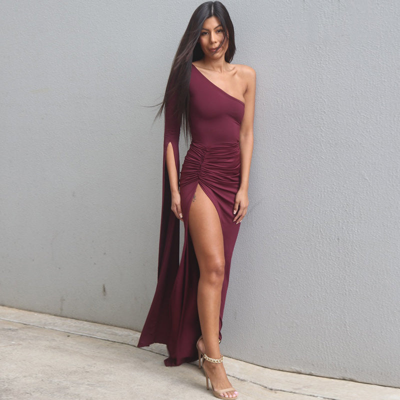 One Shoulder Side Slit Long Dress