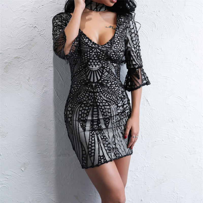 Sequin Casual Flare Sleeve Dress