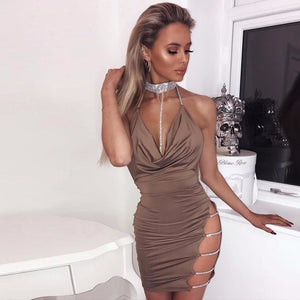 Bandage Chain Backless Elegant Club Dress