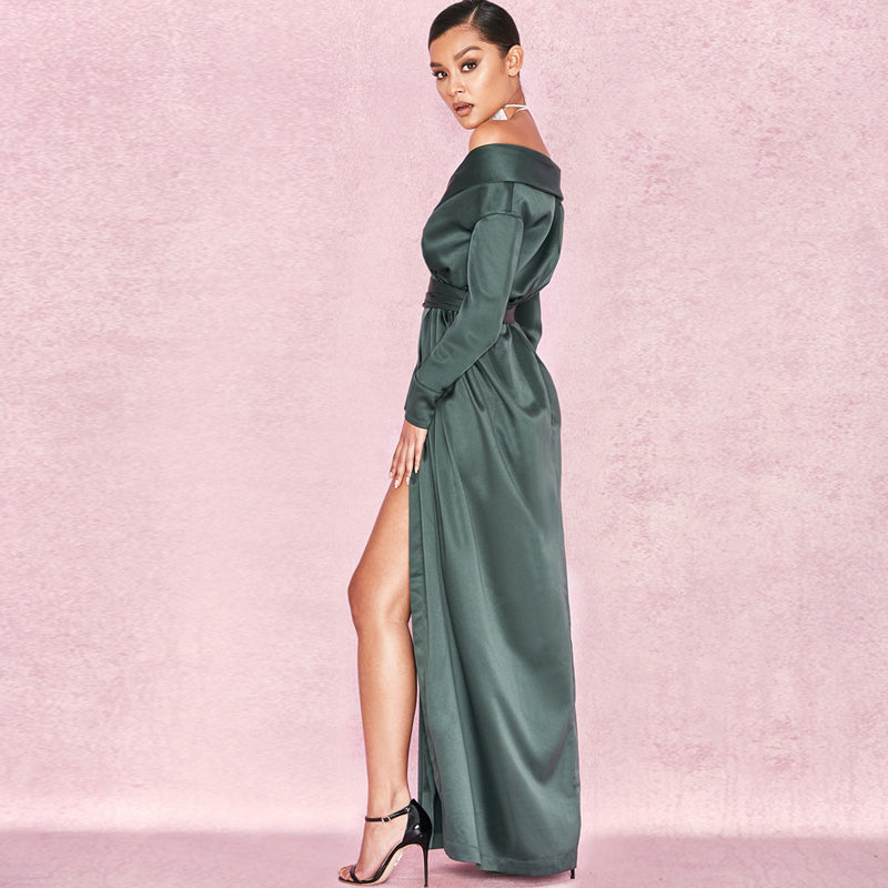 Elegant Long Sleeve V Neck Dress