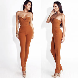Suede Strapless Overall Jumpsuit