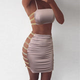 Hollow Out Sleeveless Two Piece Set