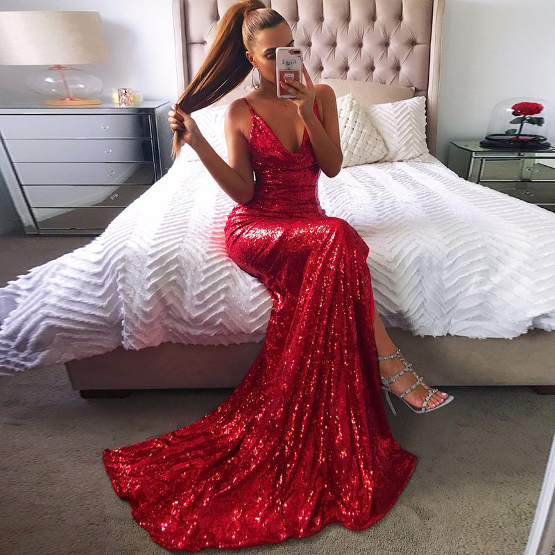 Sequin Backless Side Slit Long Dress