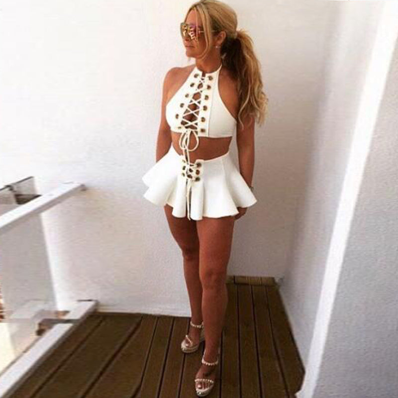 Halter Bandage Hollow Out Top Skirt Set