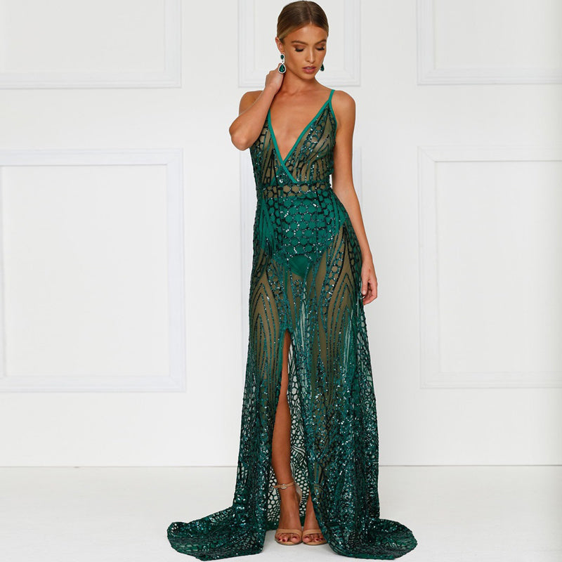 Sequin Backless High Split Dress