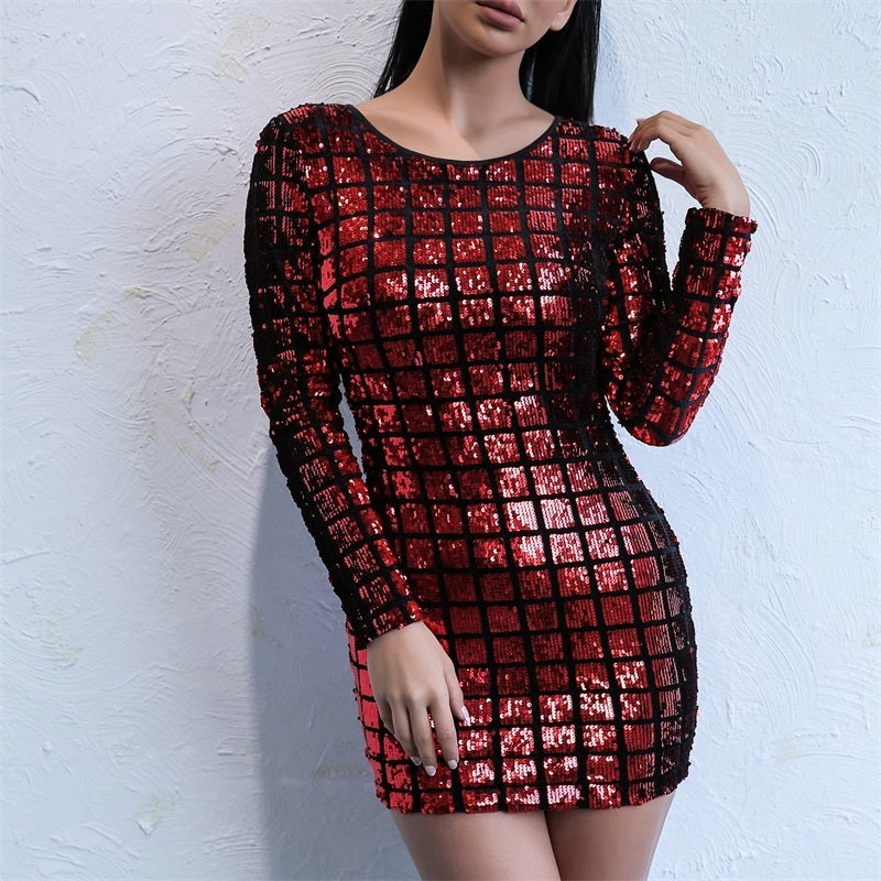 O Neck Long Sleeve Sequin Backless Bodycon Dress