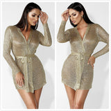 Long Sleeve V Neck With Belt Bodycon Dress