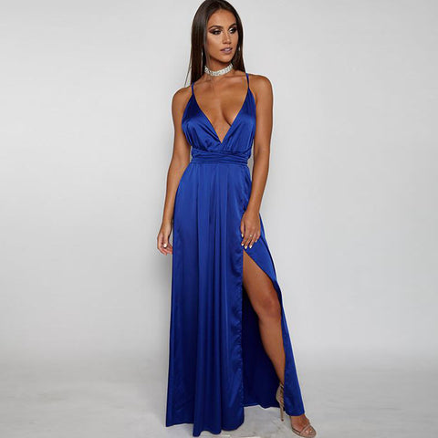 Deep V Neck Backless Bandage Long Dress
