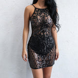 Sequins Hollow Out O Neck Bodycon Backless Mini Dress