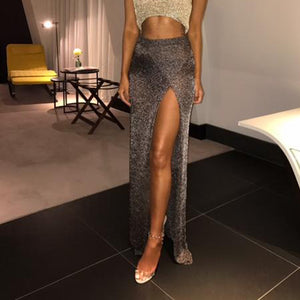 High Waist Empire Open Side Slit Long Skirt