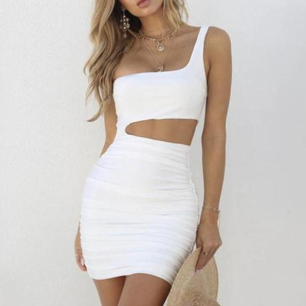 Off Shoulder Long Sleeve Hollow Out Bandage Dress