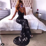 Elegant V-Neck bling Bodycon Long Dress