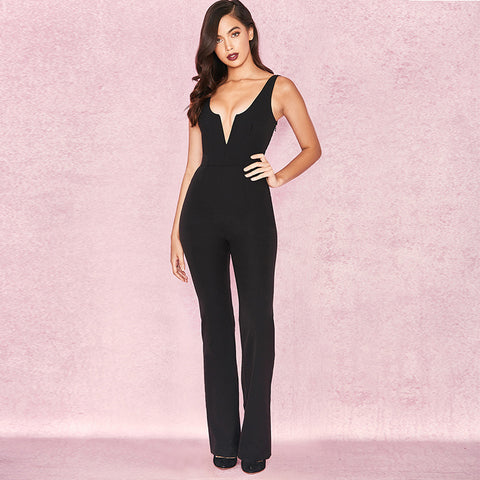 Deep V-Neck Pencil Jumpsuit Romper