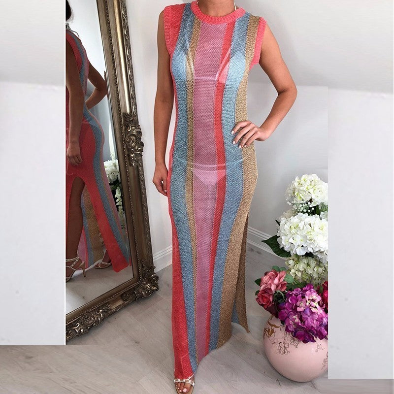 Sleeveless Multi color Long Dress