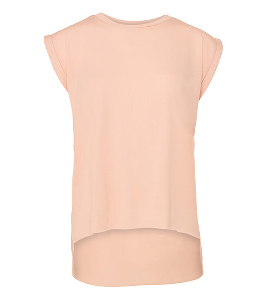 Bella Ladies Flowy Rolled Cuff Muscle T-Shirt - T Shirt Printing UK
