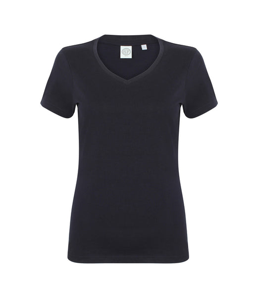 SF Ladies Feel Good V Neck Stretch T-Shirt - T Shirt Printing UK