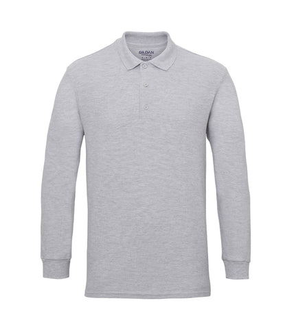 Gildan Long Sleeve Premium Cotton® Double Piqué Polo Shirt - T Shirt Printing UK