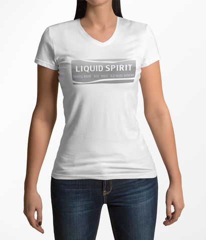 Liquid Spirit V Neck T Shirt - Womens - Silver