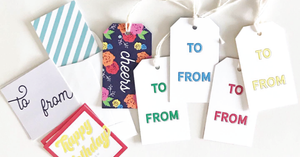 bundle of gift tags and gift stickers for packaging