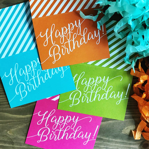 Multi-color White Ink Birthday Card Set