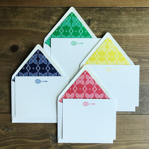 Tennis Notecard Set with lined envelopes