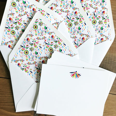 Otomi/Mexican Embroidery Card Set with lined envelopes